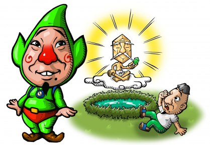 Tingle mets Uncle Rupee in the first Tingle game for DS